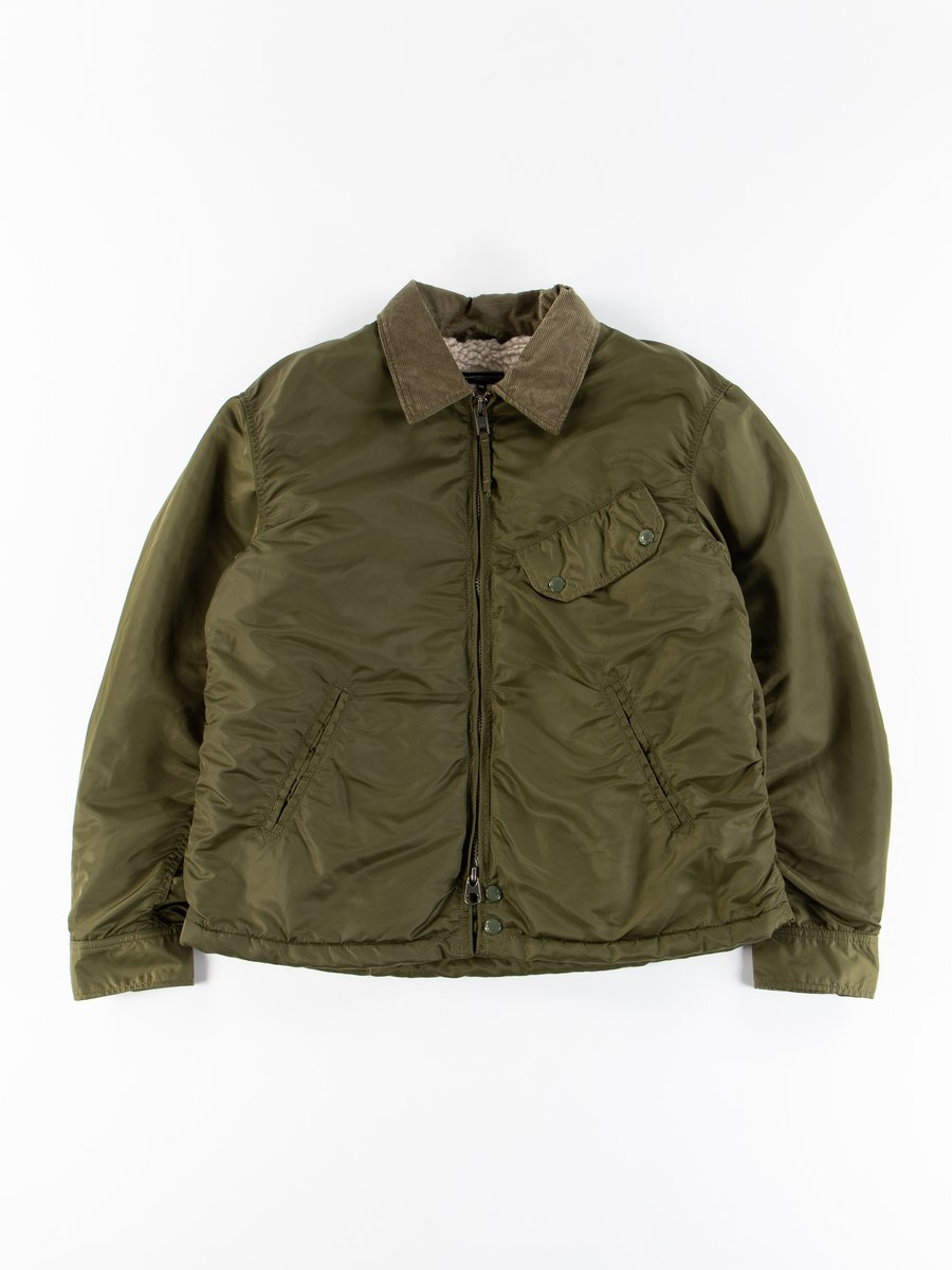 Olive Flight Satin Nylon Driver Jacket