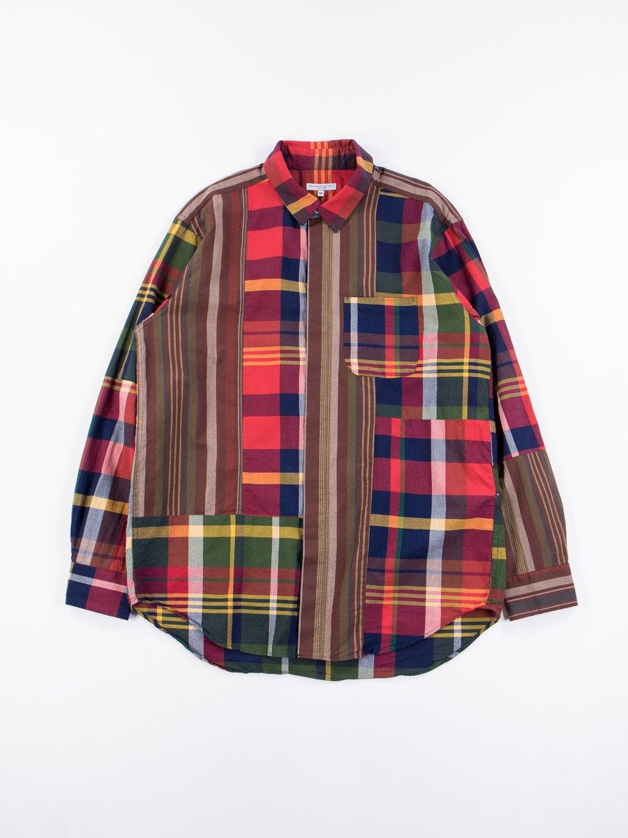 Red/Navy Cotton Big Madras Plaid Combo Short Collar Shirt