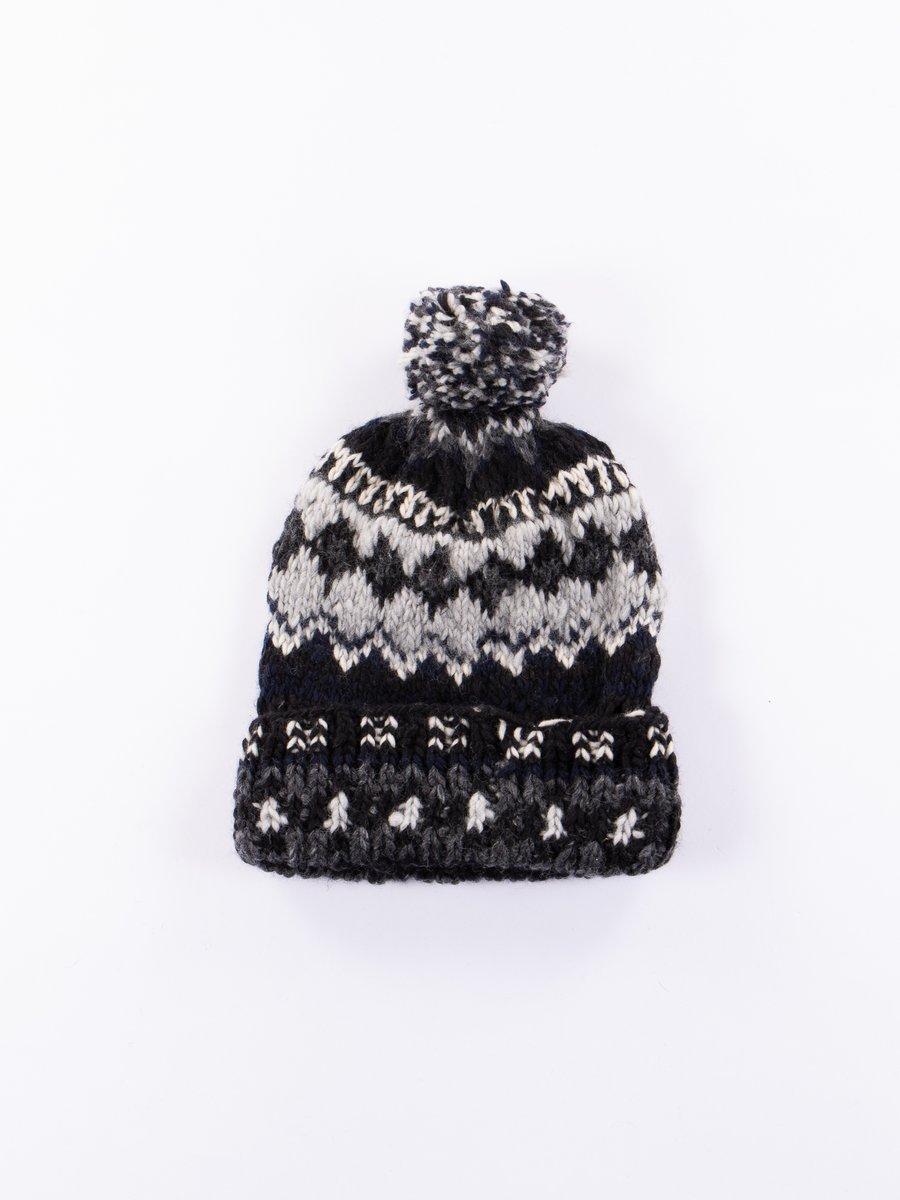 Black Double Cuff Fairisle Cap