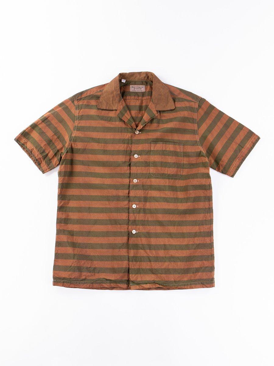 Brown Kakishibu Overdyed Short Sleeve Shirt