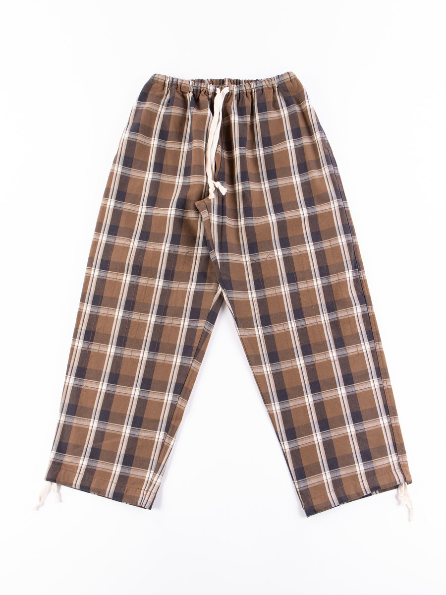 Brown Heavy Nel Plaids Ez Trouser