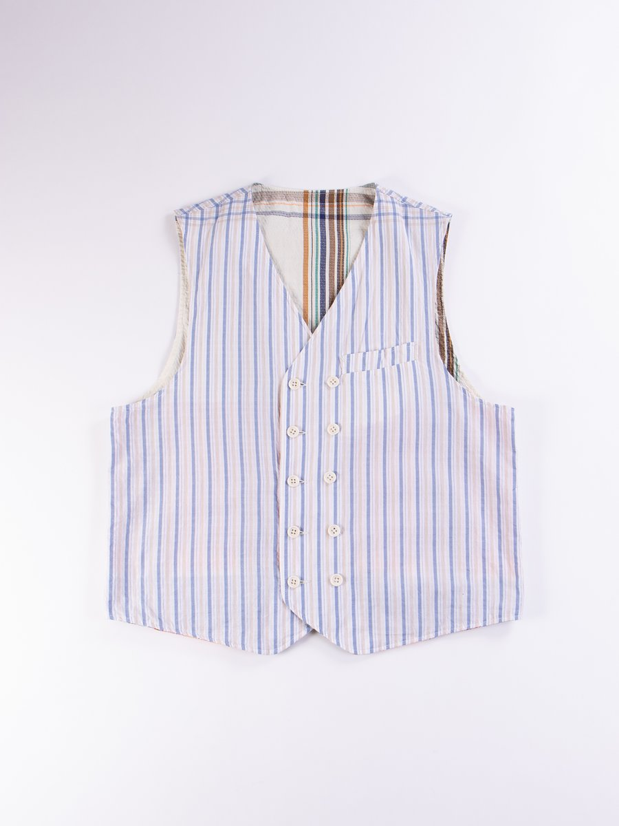 Light Blue/Tan Check Stripe Seersucker Reversible Vest