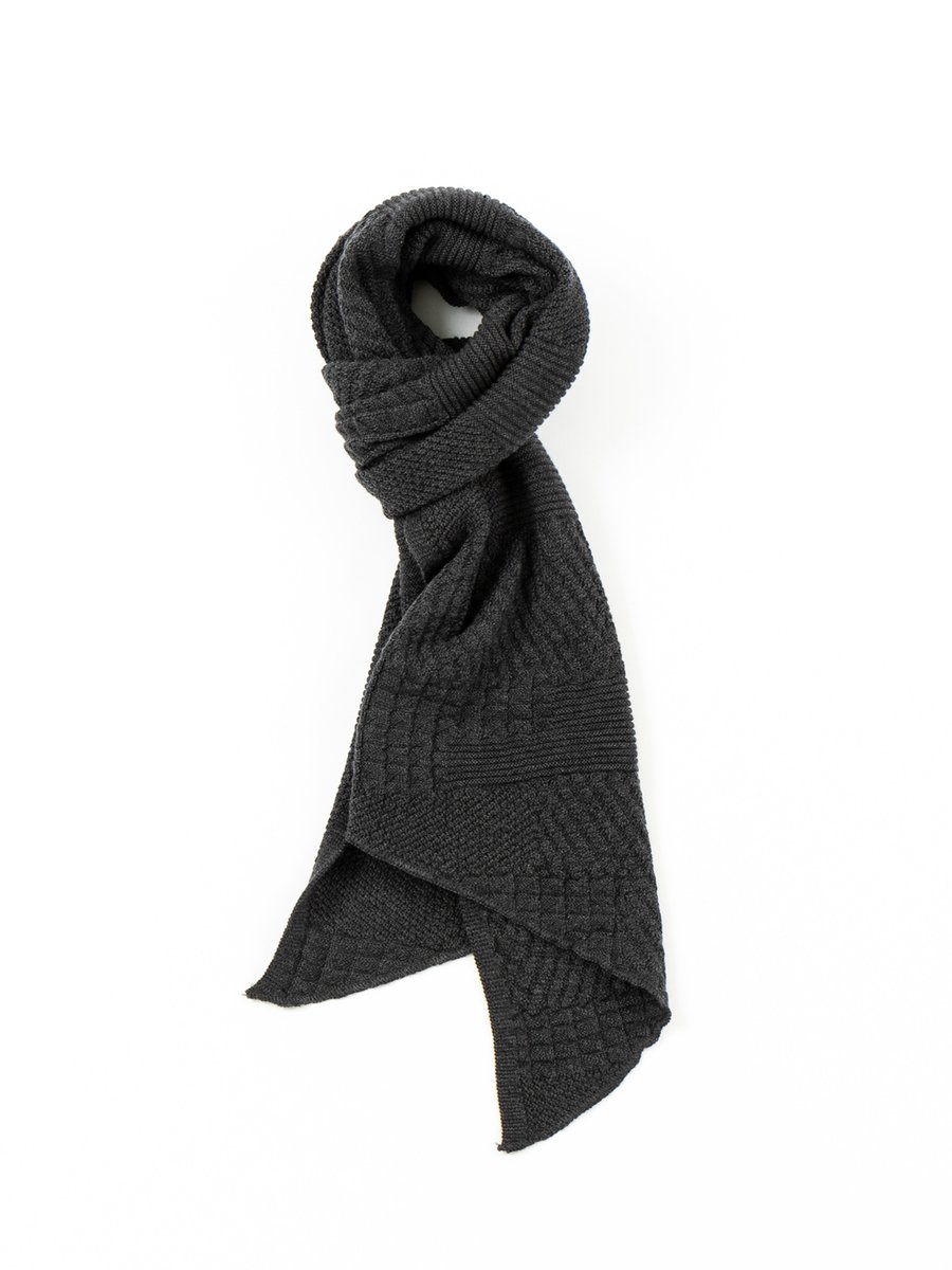 KNIT SCARF CHARCOAL WOOL