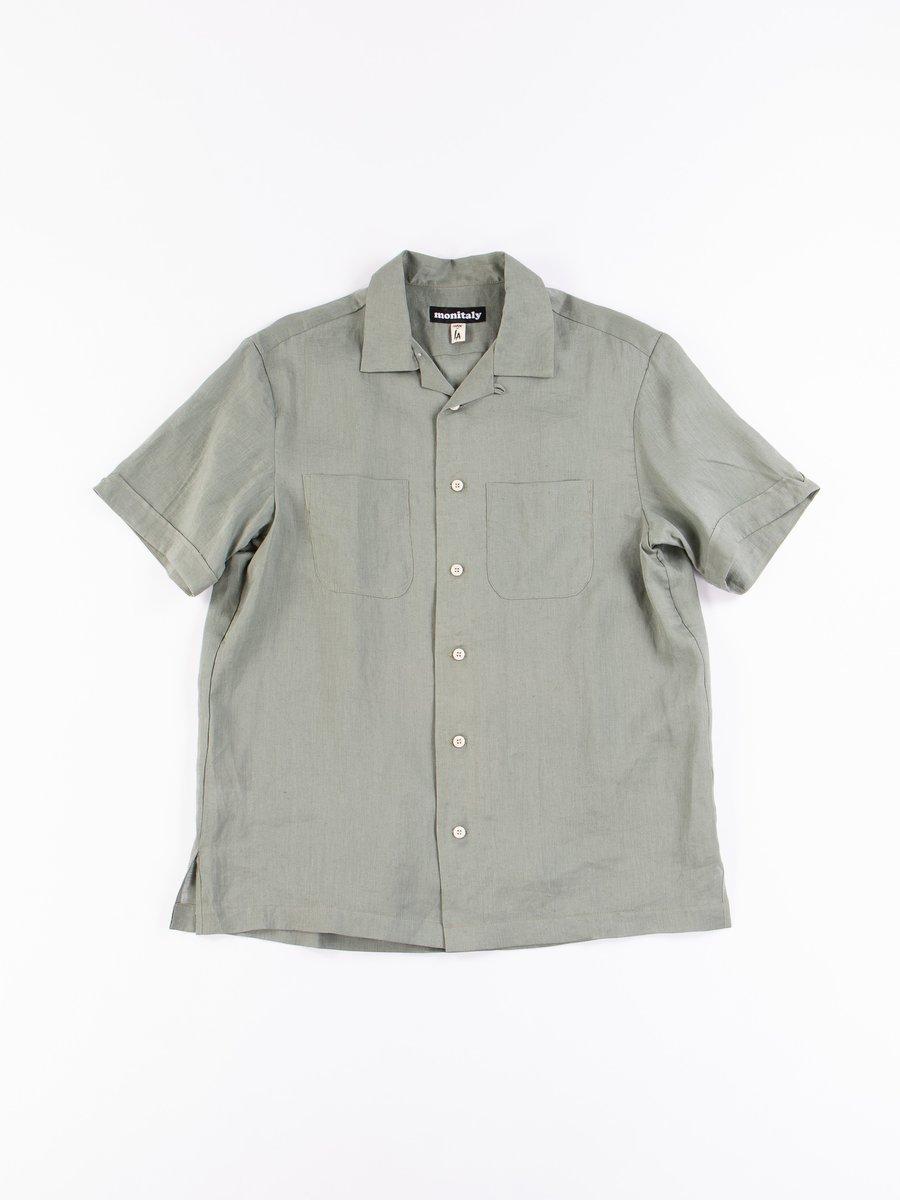 Light Sage Linen Vacation Shirt