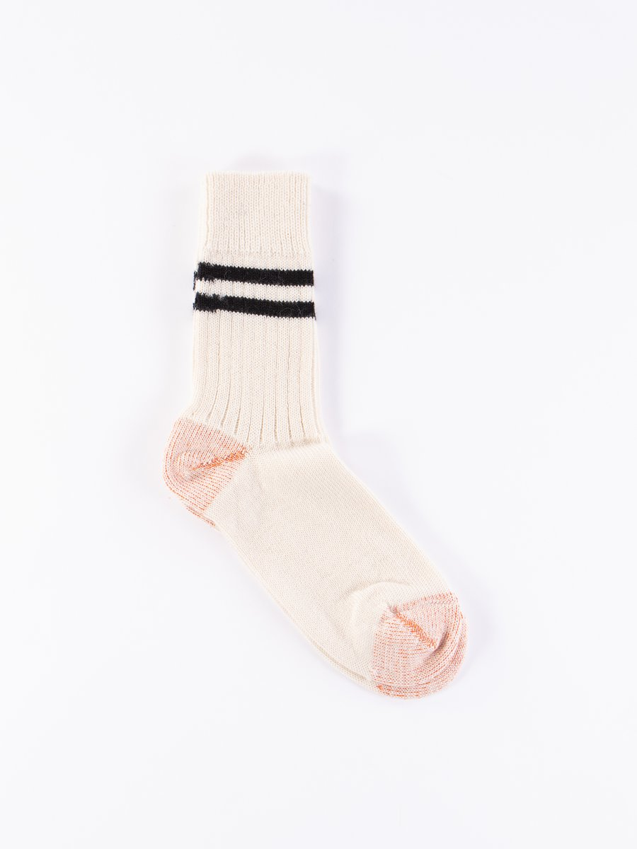 Natural/Black S75 Wool Striped Sport Sock