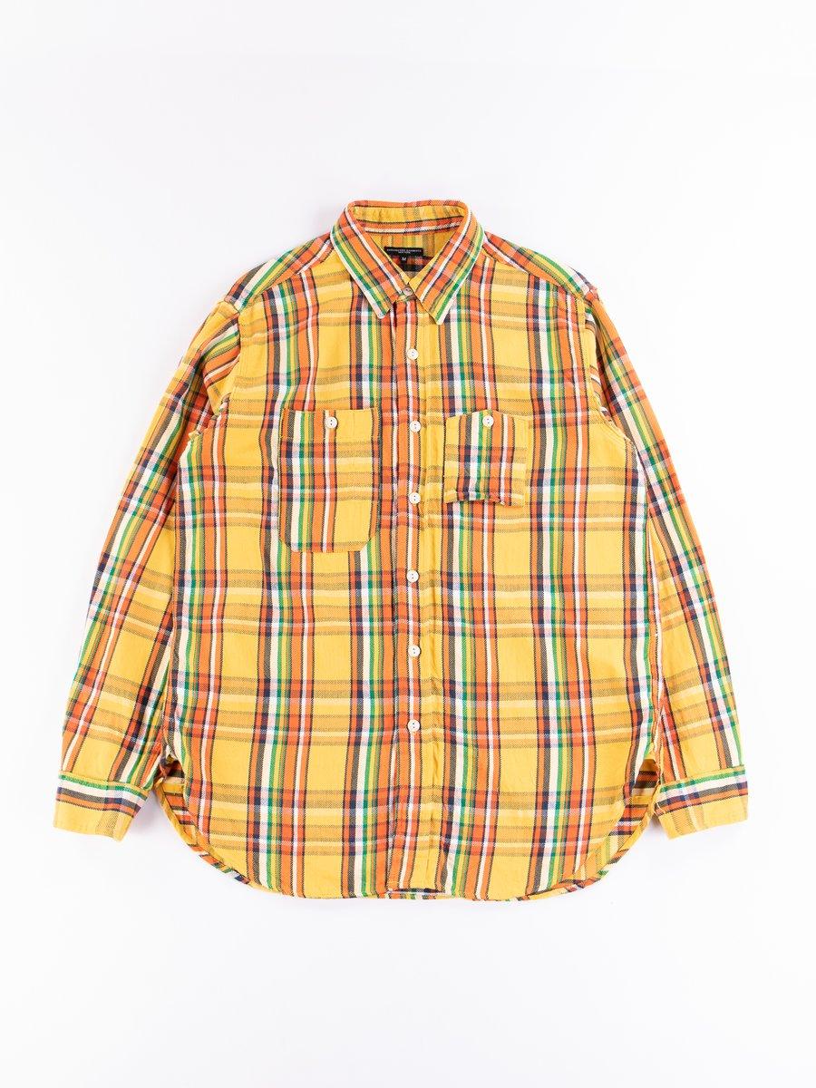 Yellow Cotton Twill Plaid Work Shirt