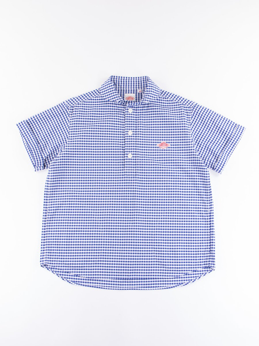 Blue Gingham Oxford Shawl Collar Short Sleeve Shirt