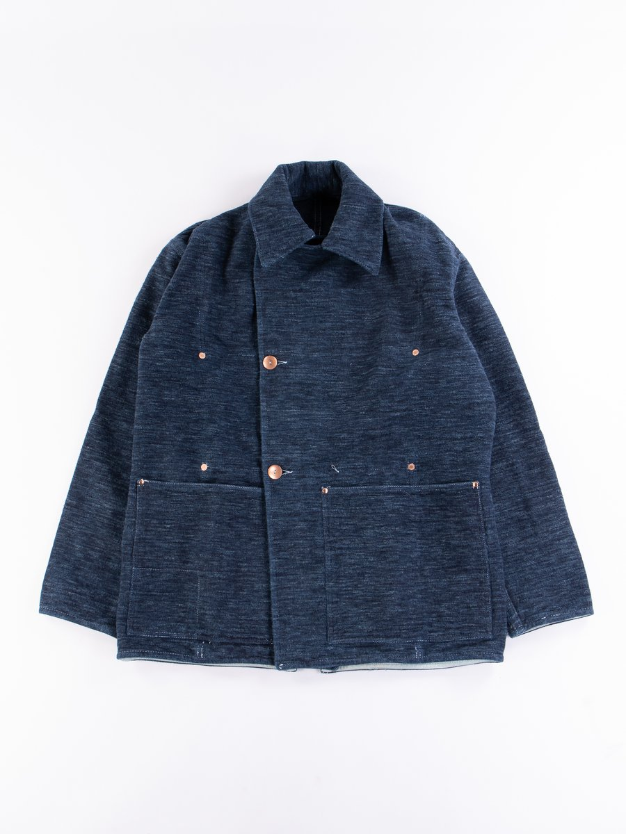 Indigo Cotton Molleton Cook's Coat