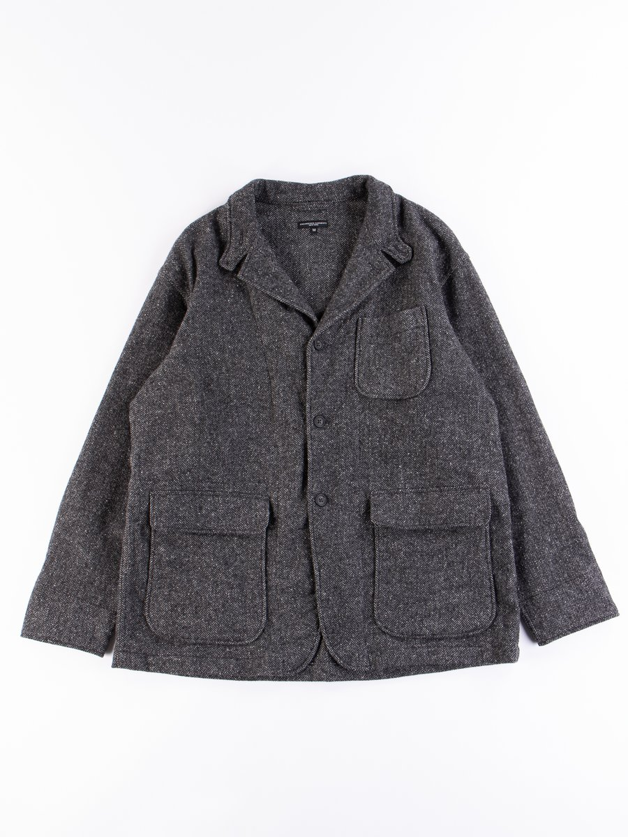 Grey Poly Wool Herringbone Loiter Jacket