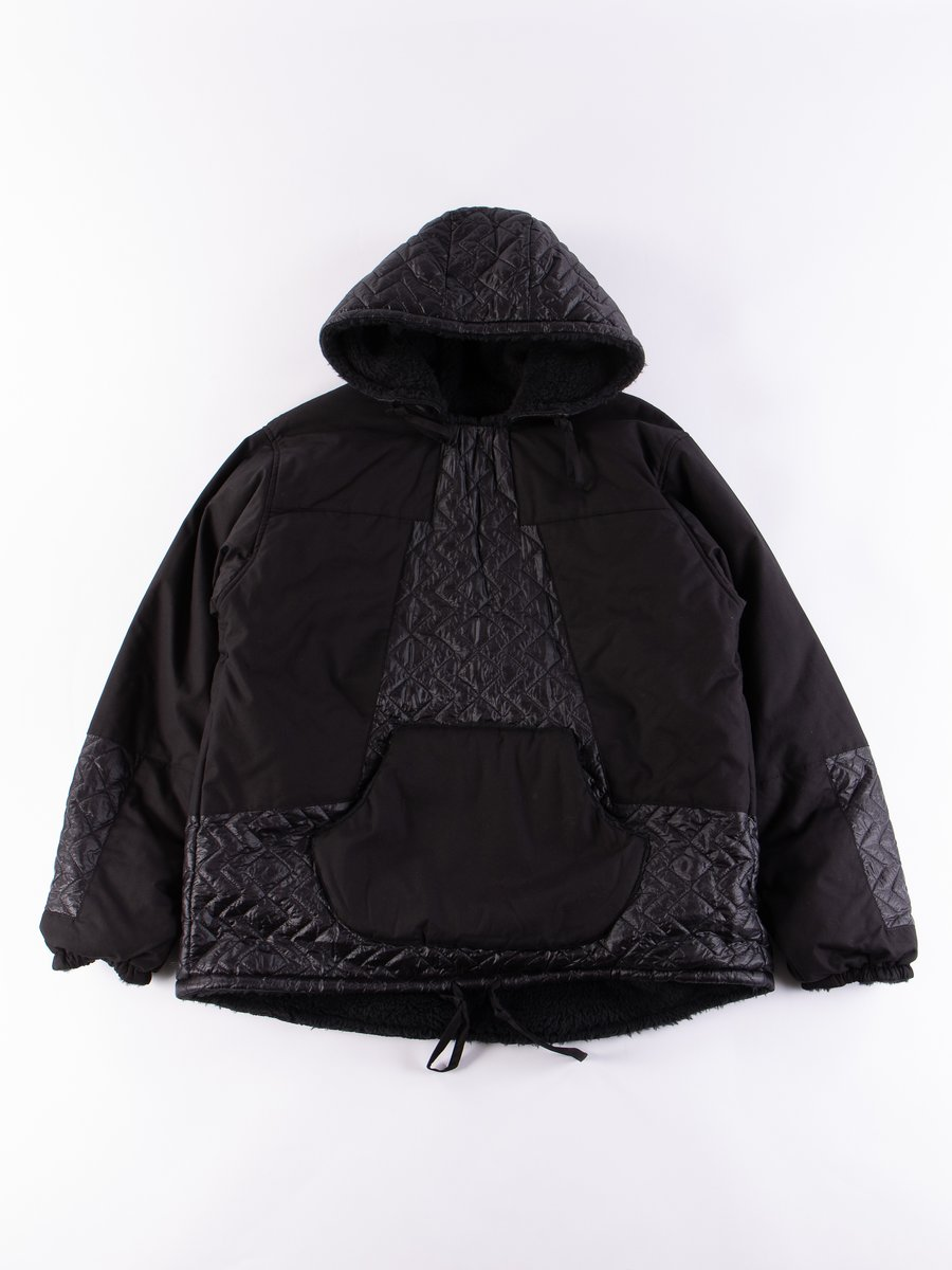 Black/Black Panelled Hooded Pullover