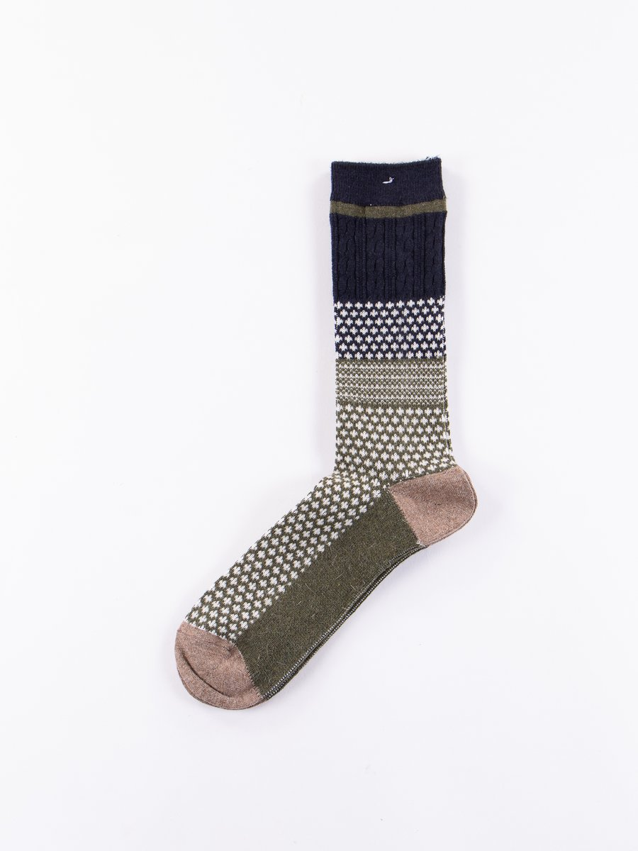 Moss/Navy Club Knit Socks