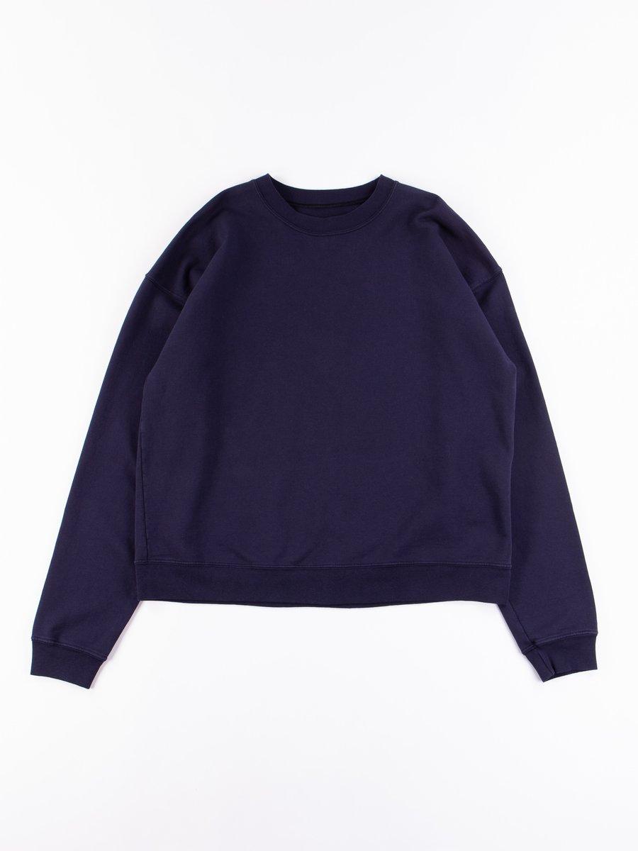 Navy Cropped Crewneck Sweatshirt