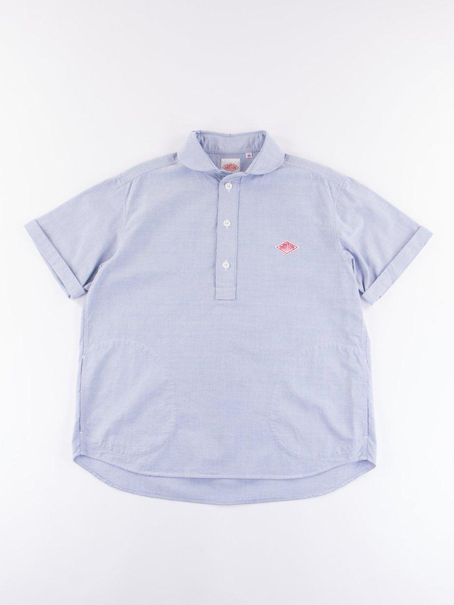 Blue Oxford Shawl Collar Short Sleeve Shirt