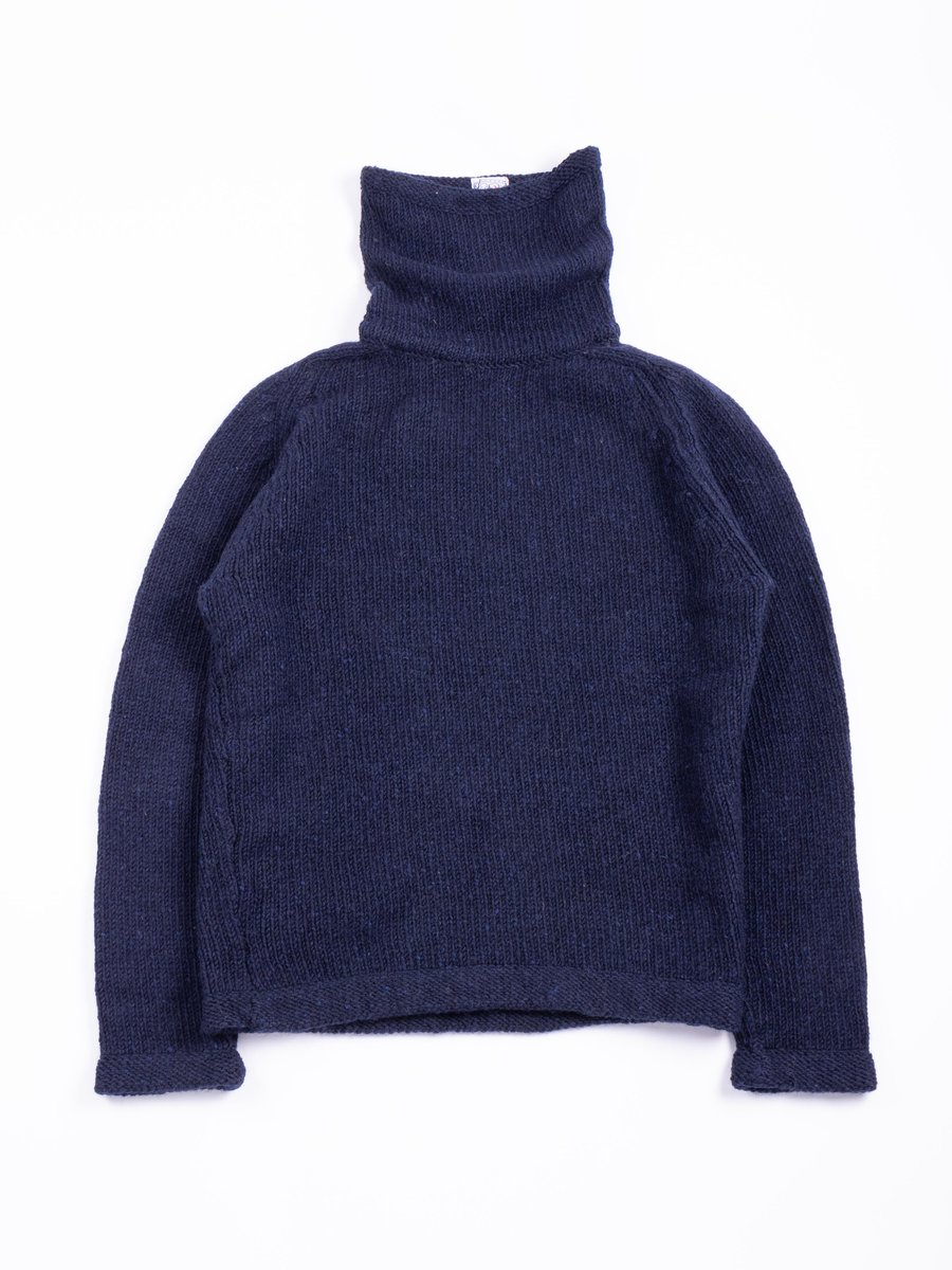 TYPE 737 PURL EDGE ASTRONAUT NECK PULLOVER NAVY DONEGAL WOOL