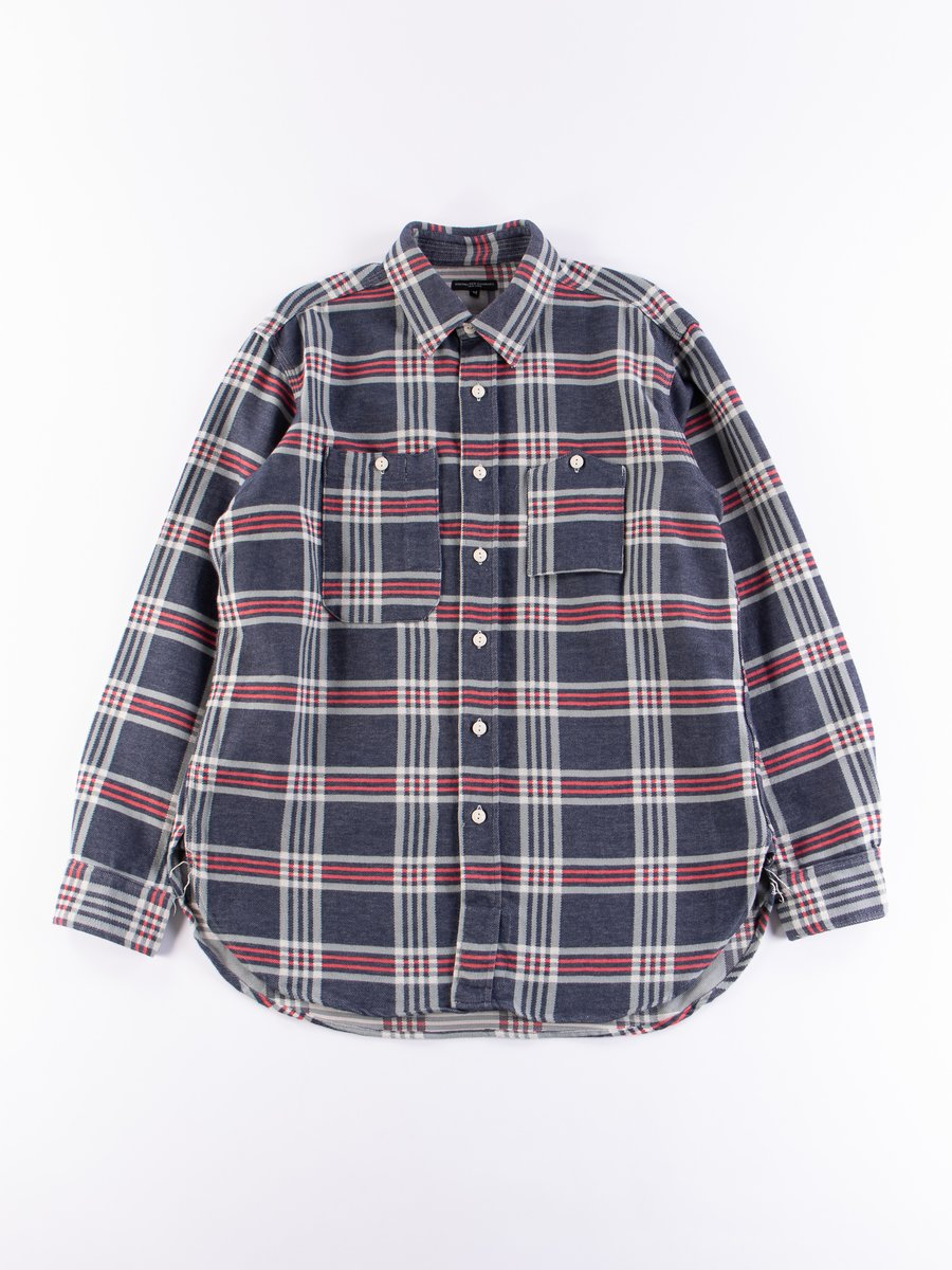 Navy/Teal/Red Big Plaid Work Shirt