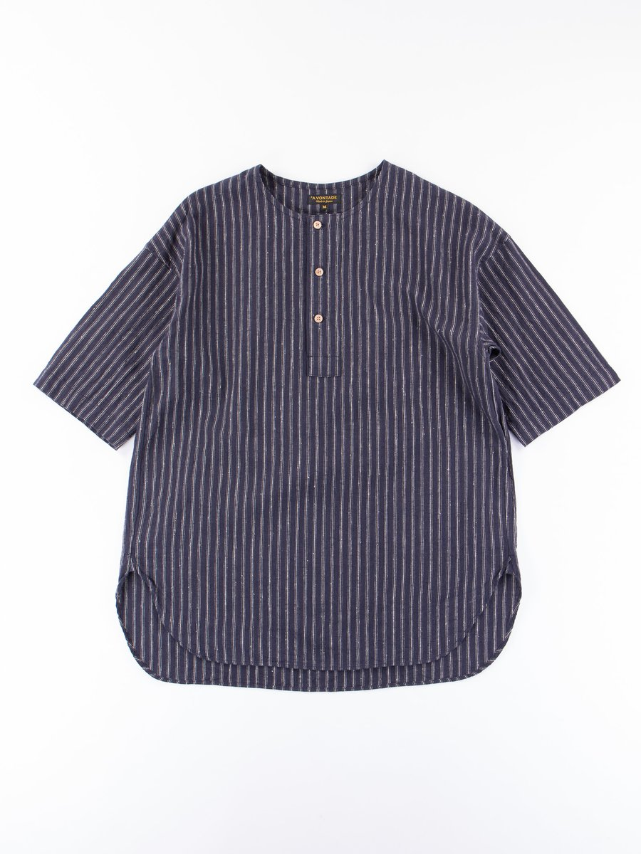 Dark Navy Stripe Henley SS Shirt