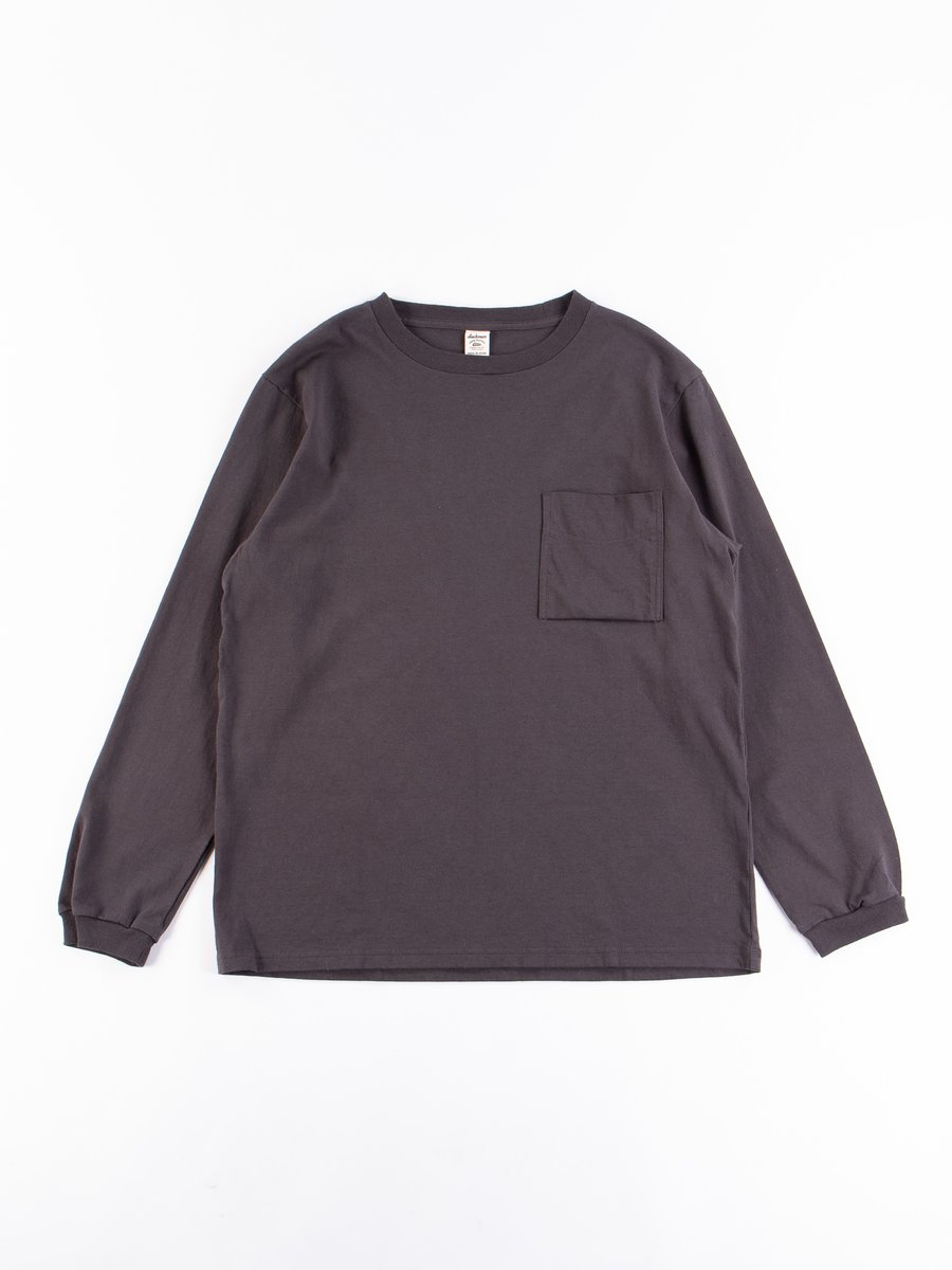Off Black Long Sleeve Pocket T–Shirt