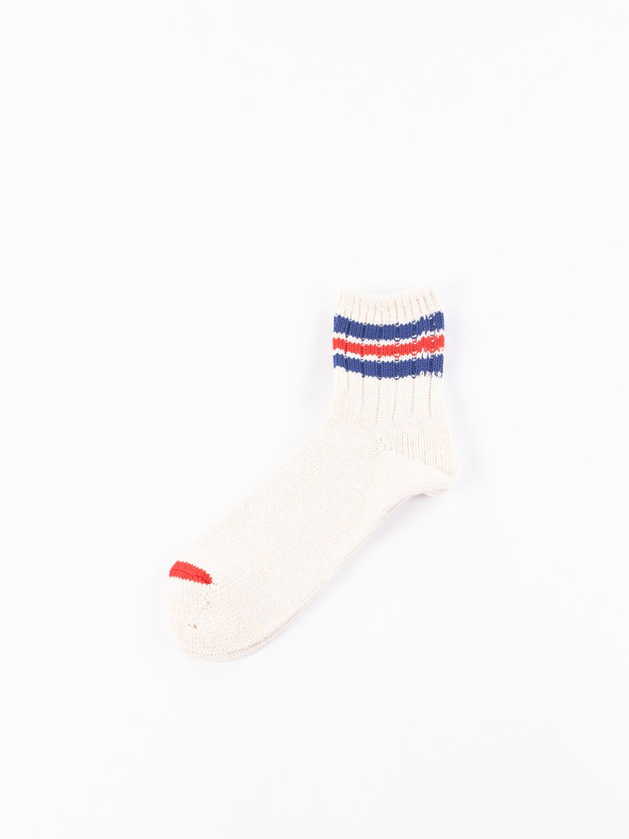 Natural 3 Line Slub Quarter Socks
