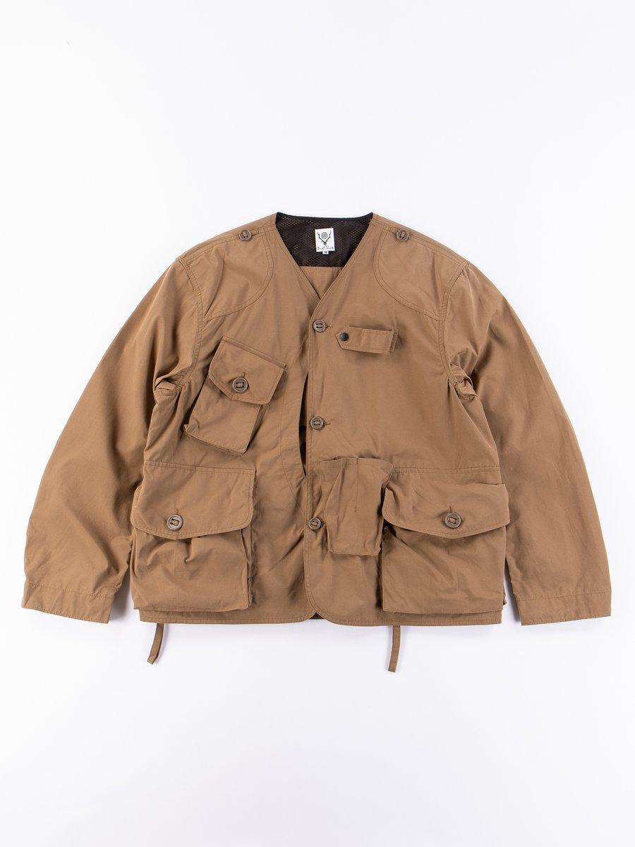 Tan Wax Coating Tenkara Collarless Jacket