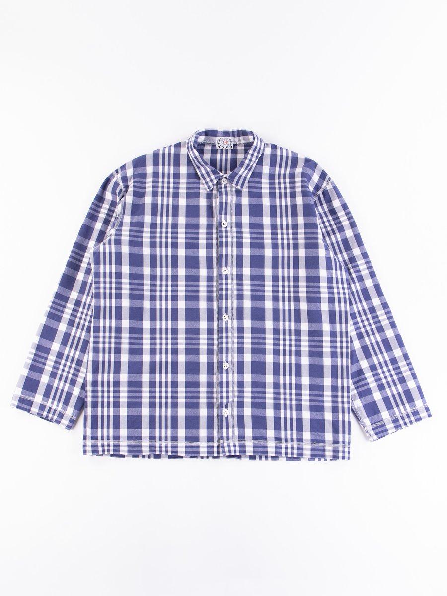 Navy Picnic Check Weavers Stock LS Square Shirt