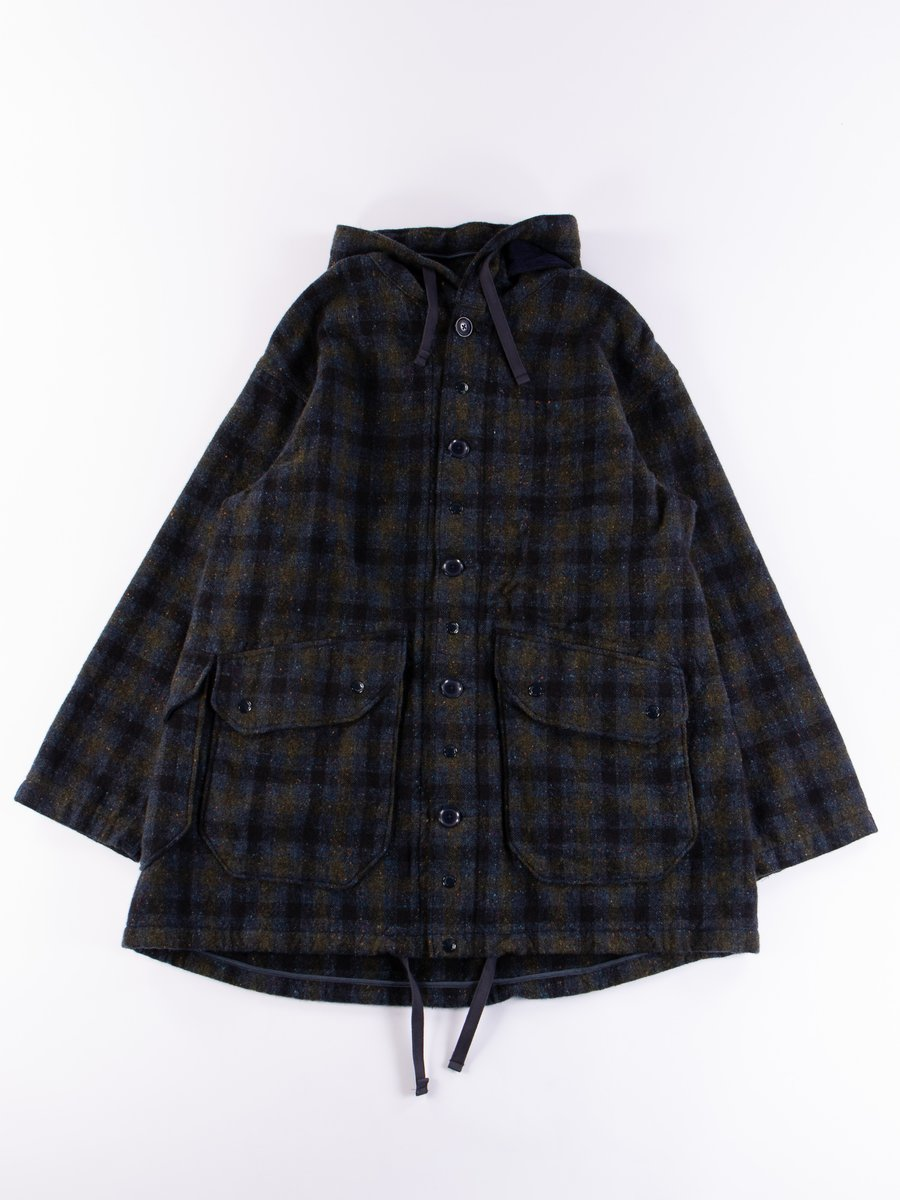 Navy Check Donegal Wool Tweed Madison Parka