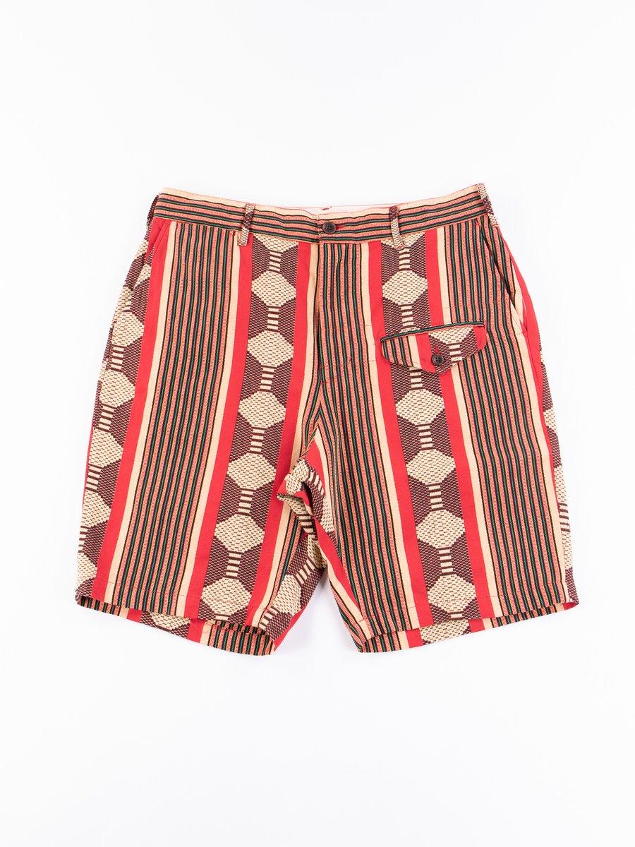 Red Ethnic Jacquard Stripe Ghurka Short