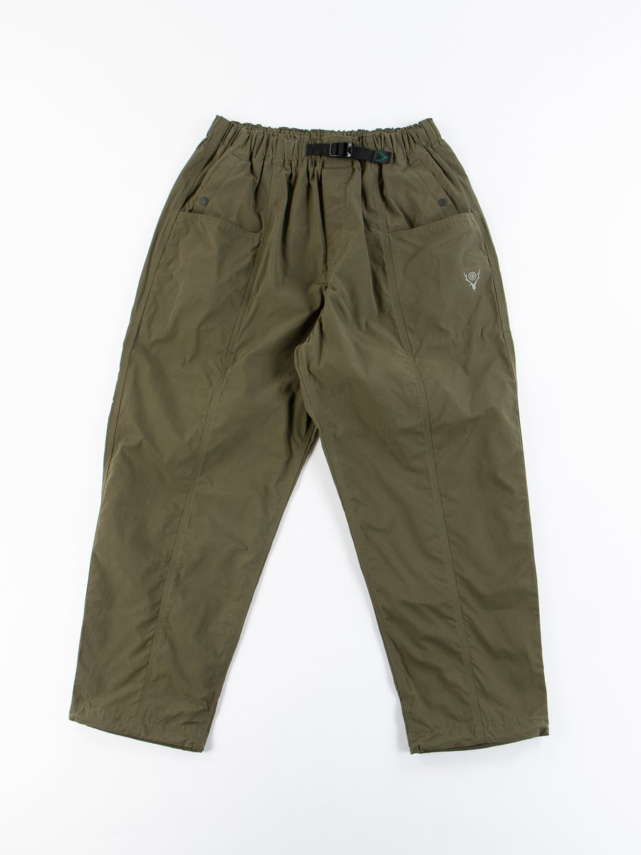 Olive Wax Coating Belted Center Seam Pant