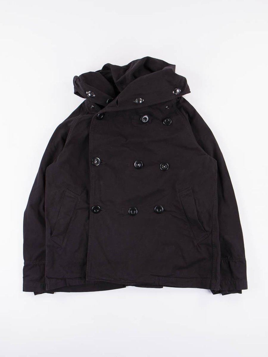 Black Brushed Twill Tri–P Ring Coat
