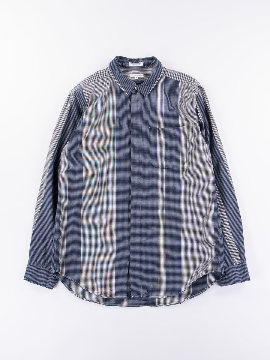 Dark Navy/Grey Mini Gingham Big Stripe Short Collar Shirt