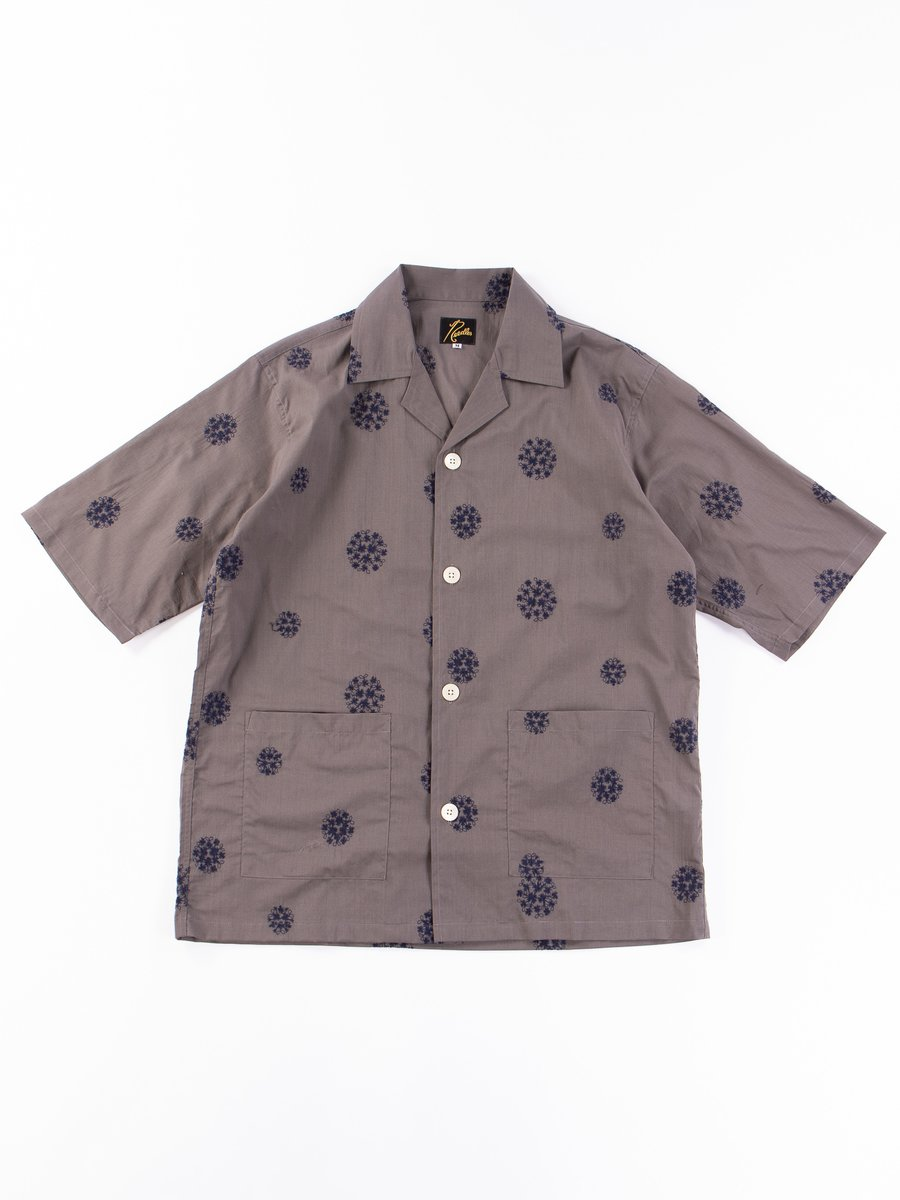 Grey Floral Dot Embroidered Cabana Shirt