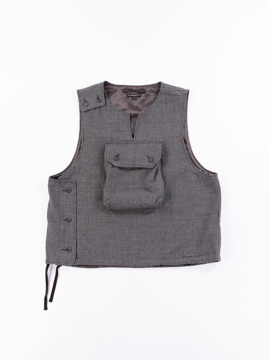 Grey Wool Glen Plaid Houndstooth Cover Vest