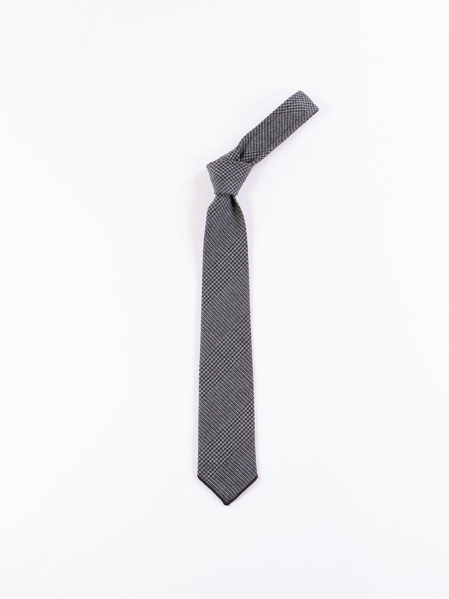 Grey Wool Glen Plaid Houndstooth Neck Tie