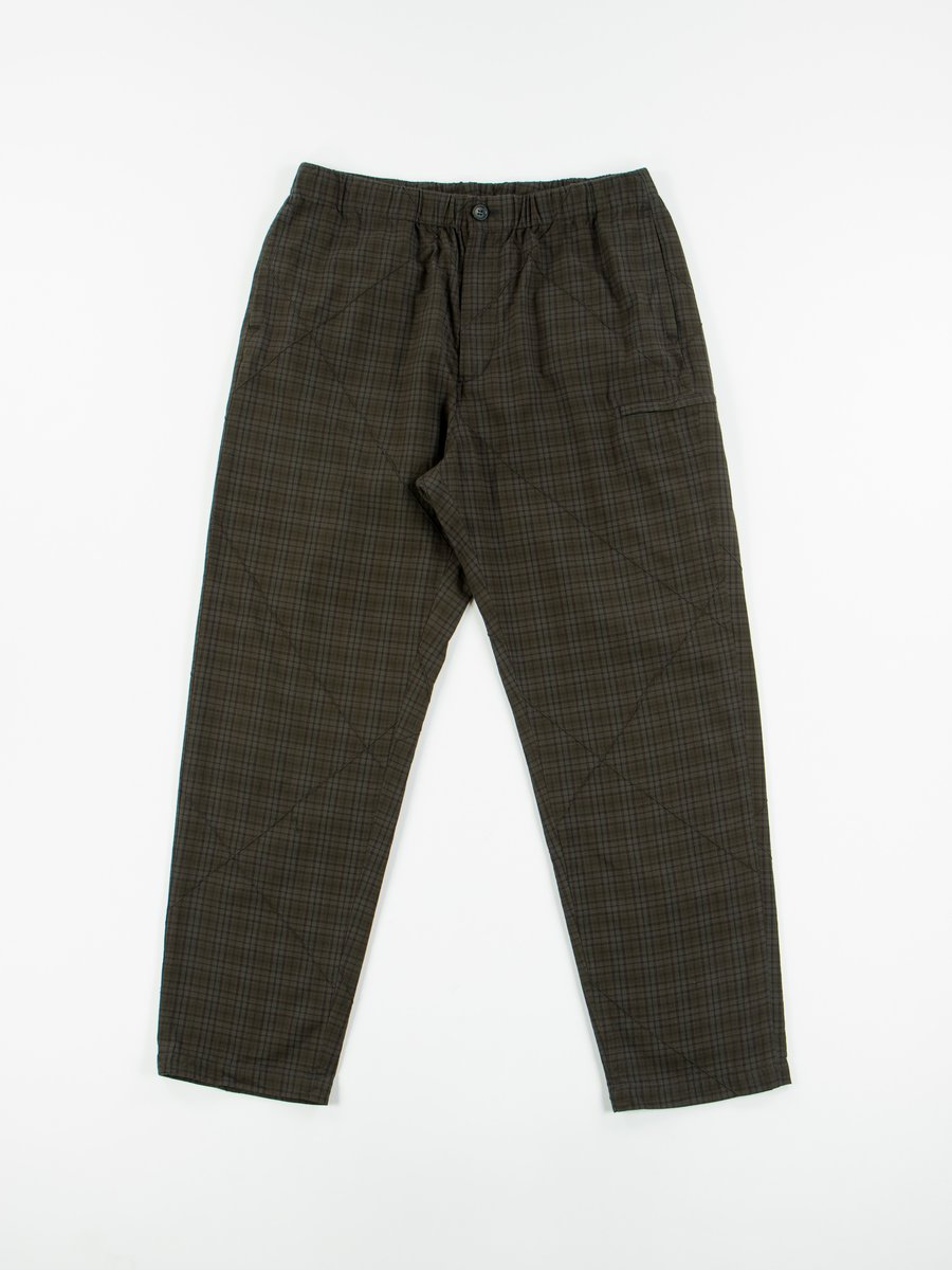 Dark Olive Cotton Pintuck Small Plaid Drawstring Pant