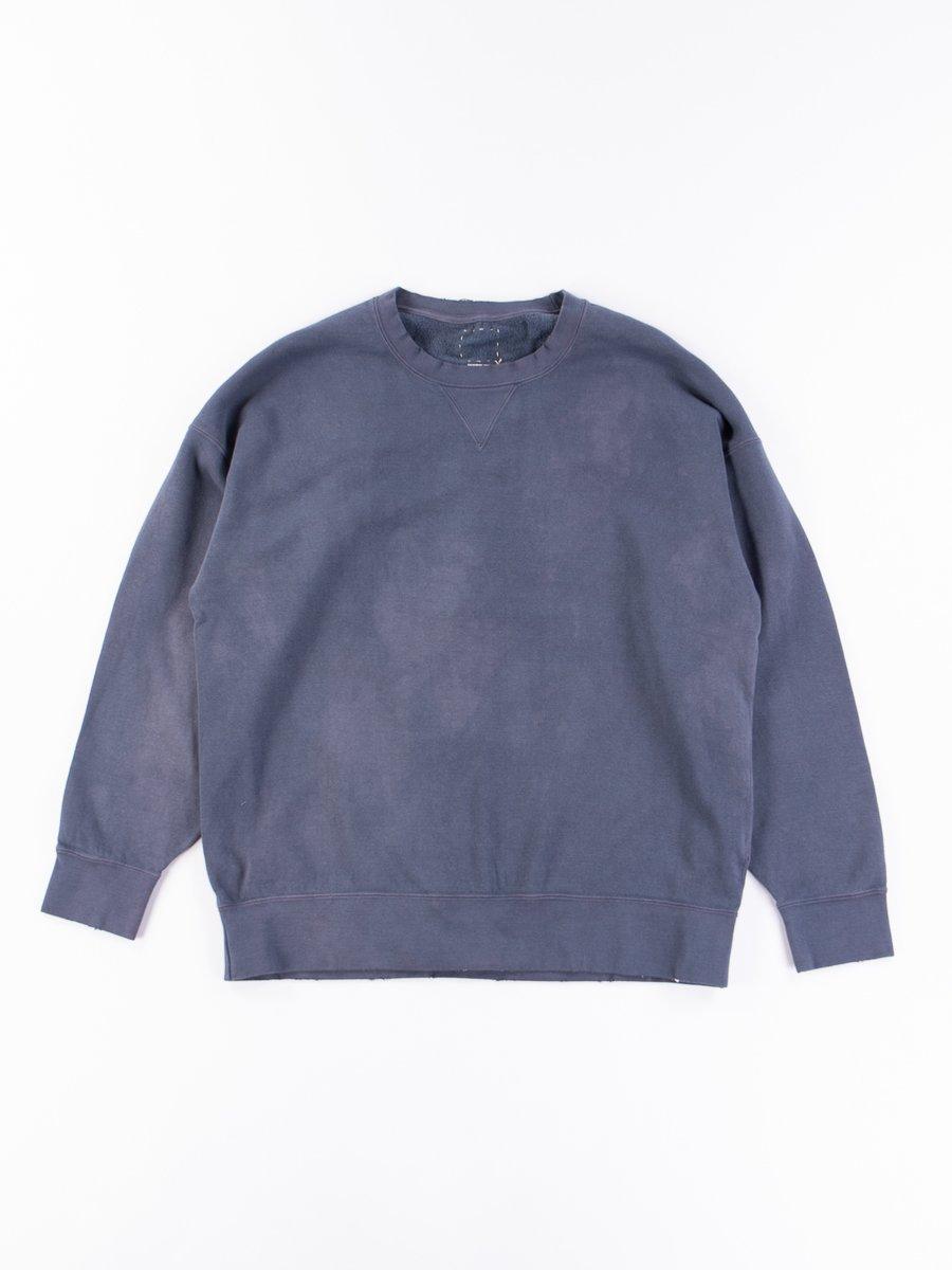 Navy Uneven Dye Jumbo Long Sleeve Sweatshirt