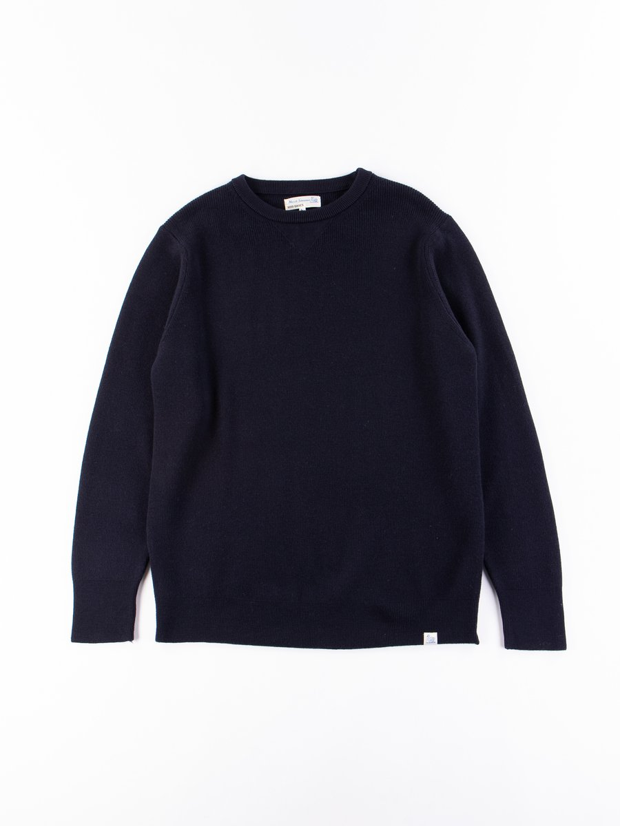 Deep Blue Good Basics Classic Wool Crewneck Pullover