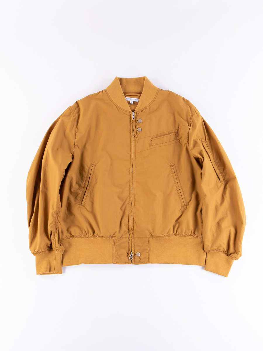 Mustard Acrylic Coated Nylon Taffeta Aviator Jacket