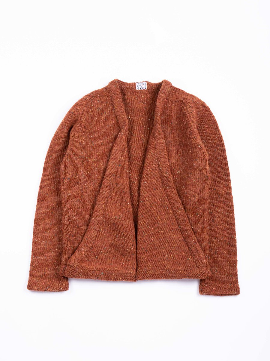 TYPE 738 PURL EDGE FOLDED FRONT CARDIGAN COPPER BEECH DONEGAL WOOL