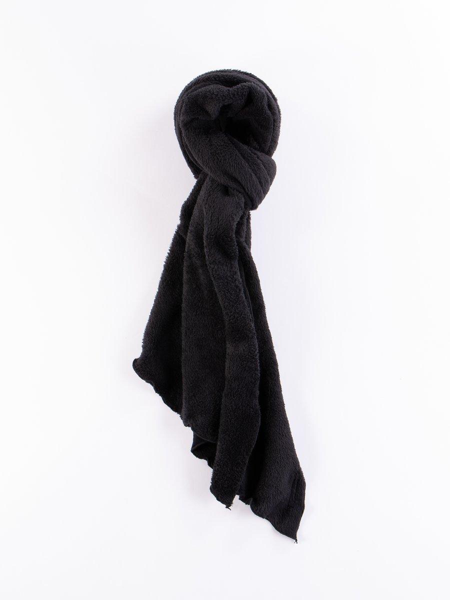 Black Polyester Shaggy Fleece Long Scarf