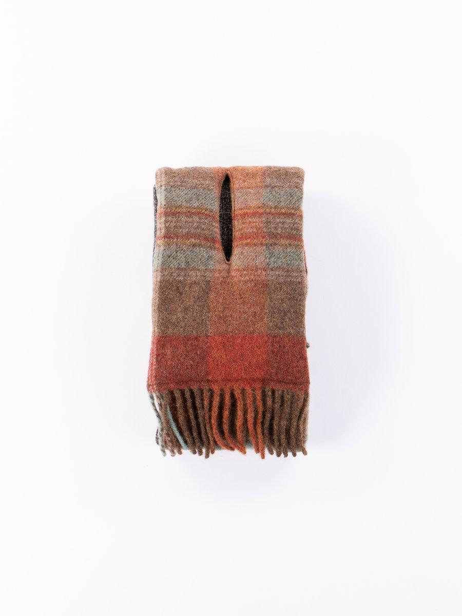 Brown Country Wool Check Tweed Fleecy Knit Kesa Scarf