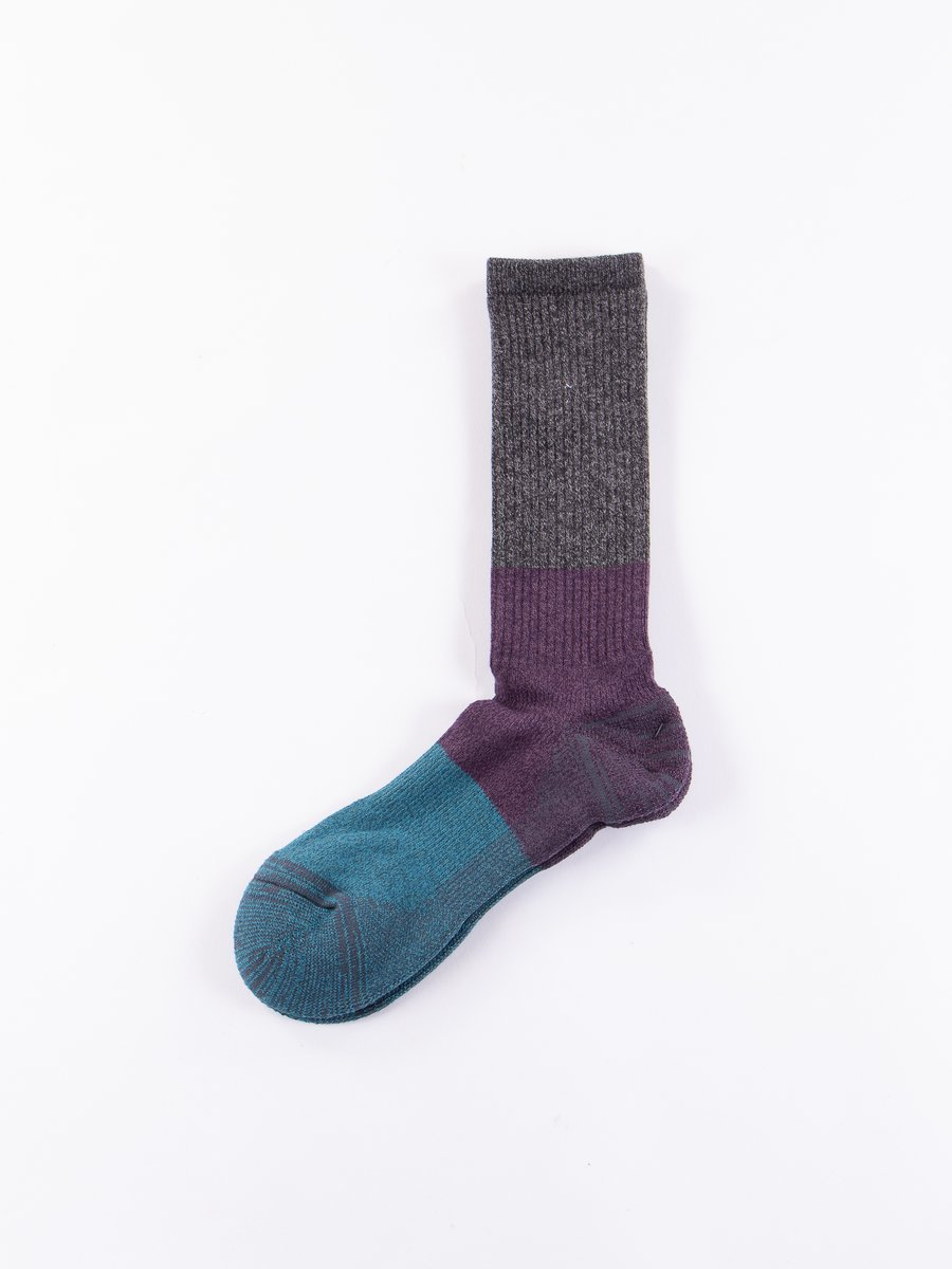 Charcoal/Purple Block Knit Socks
