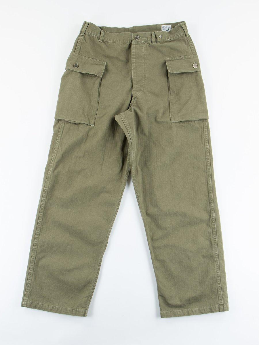 Green Used Herringbone Two Pocket Cargo Pant