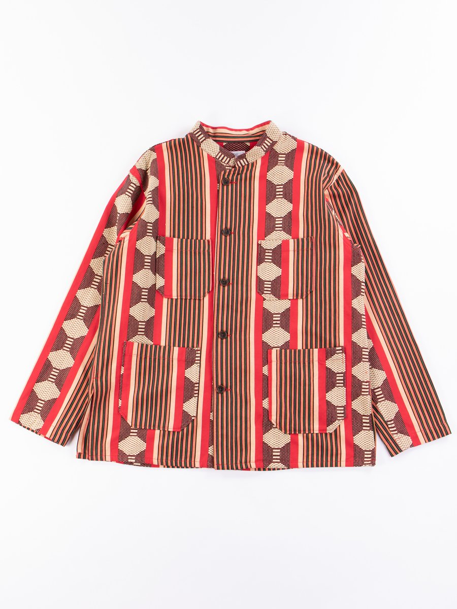Red Ethnic Jacquard Stripe Dayton Shirt