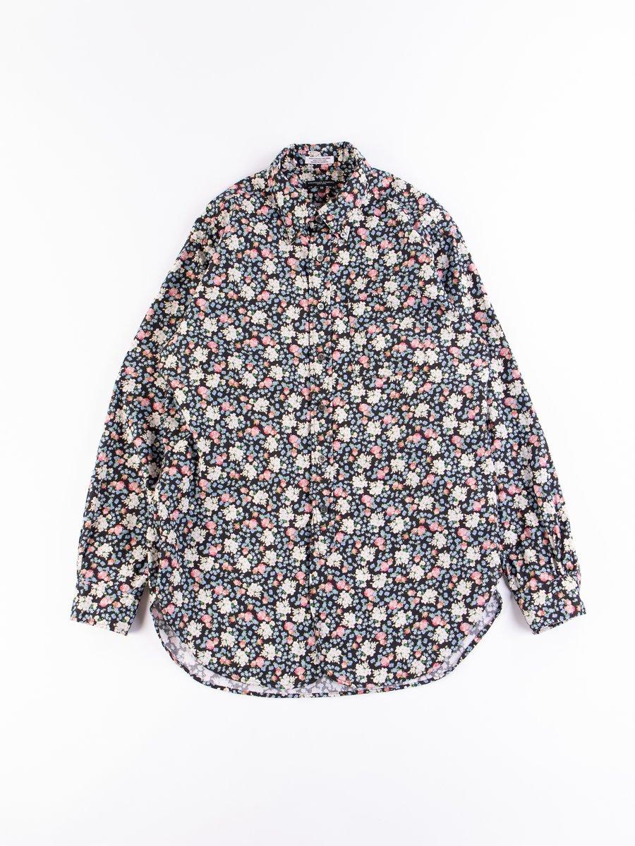 Black/Pink Cotton Print Small Rose 19th Century BD Shirt