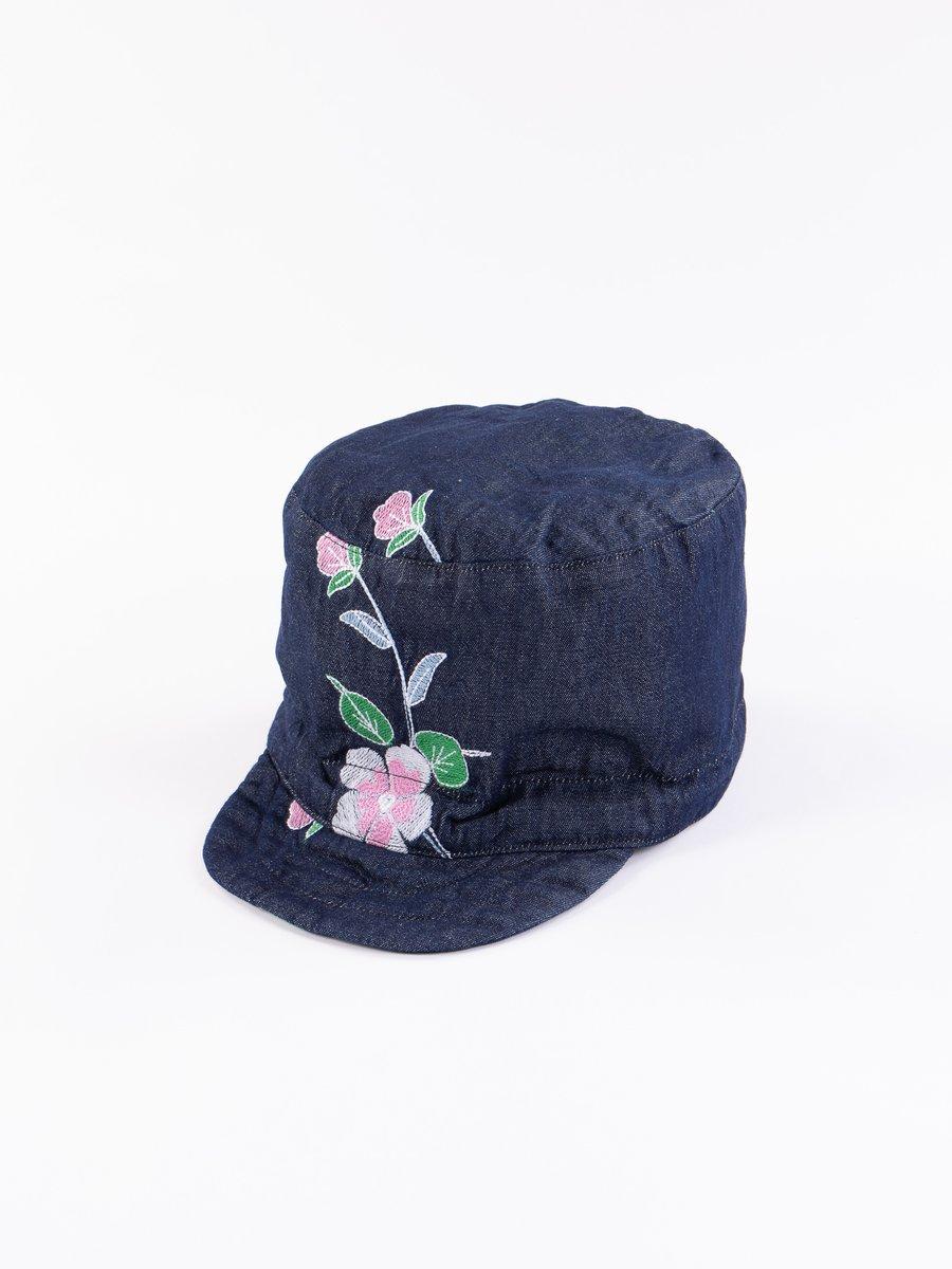 Indigo Denim Floral Embroidery FM Cap