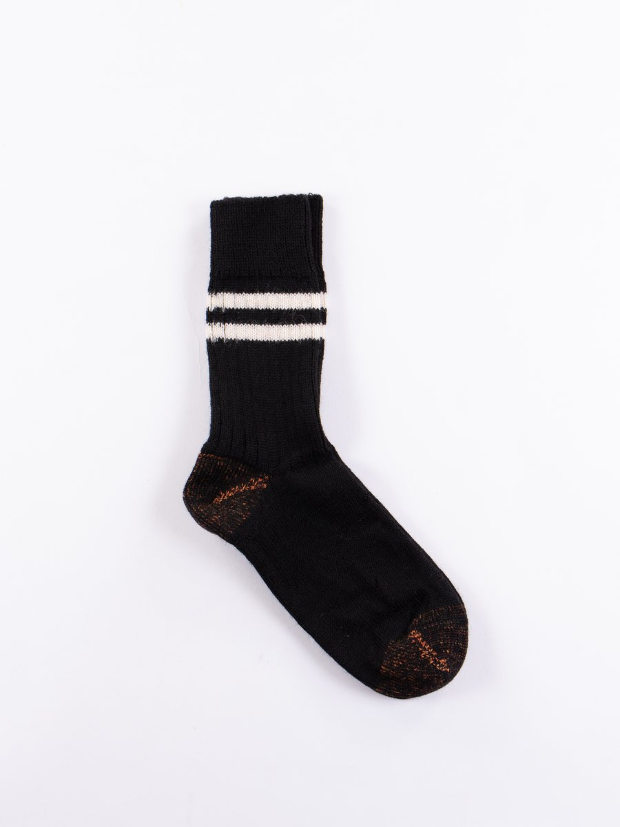 Deep Black/Natural S75 Wool Striped Sport Sock