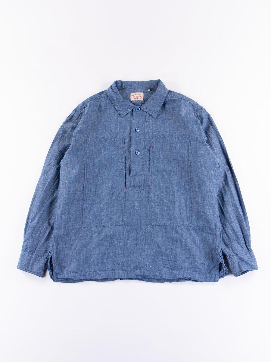 Blue Cotton/Linen Popover Shirt