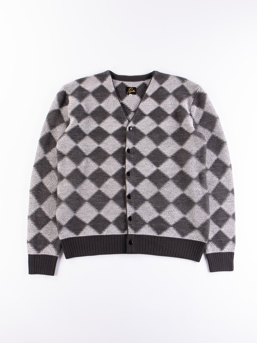 Charcoal Checkered V Neck Cardigan