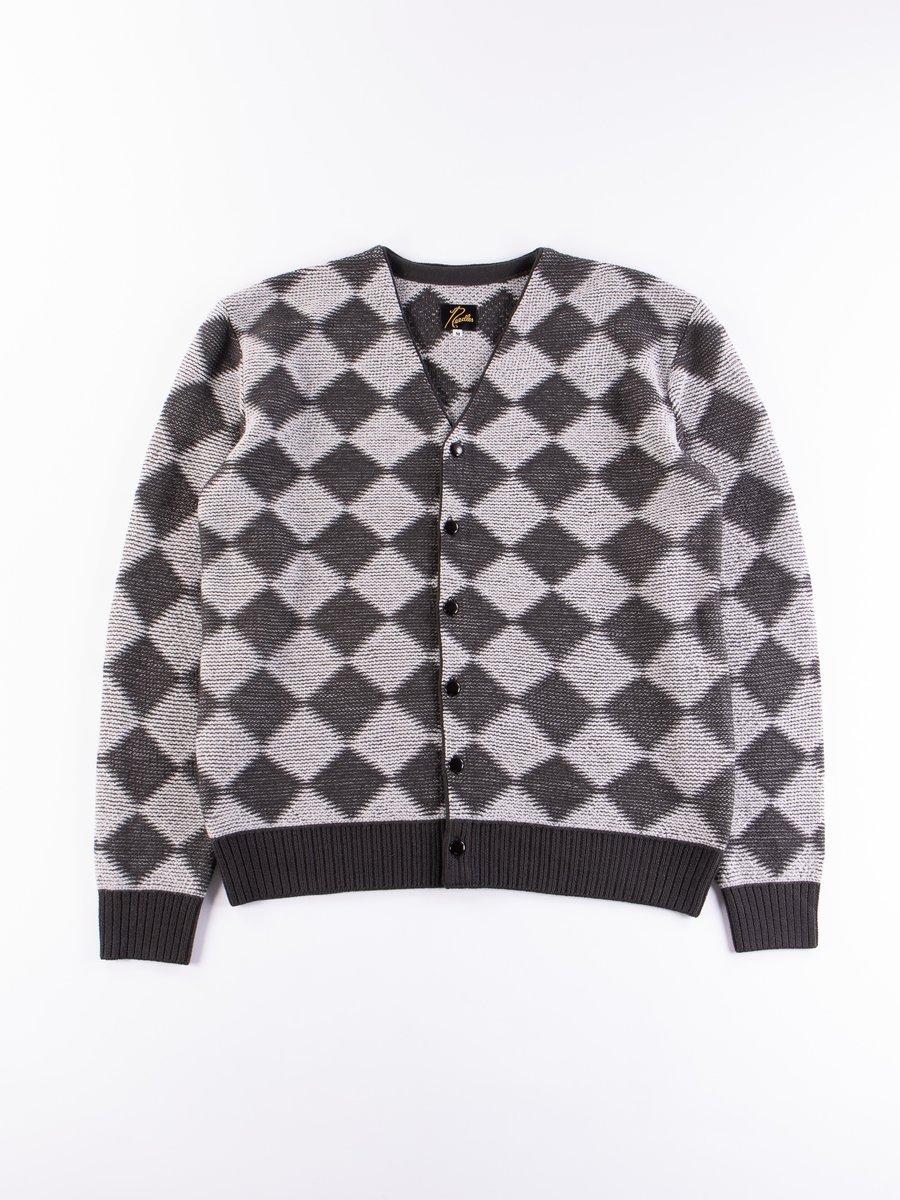 Charcoal Checkered V Neck Cardigan
