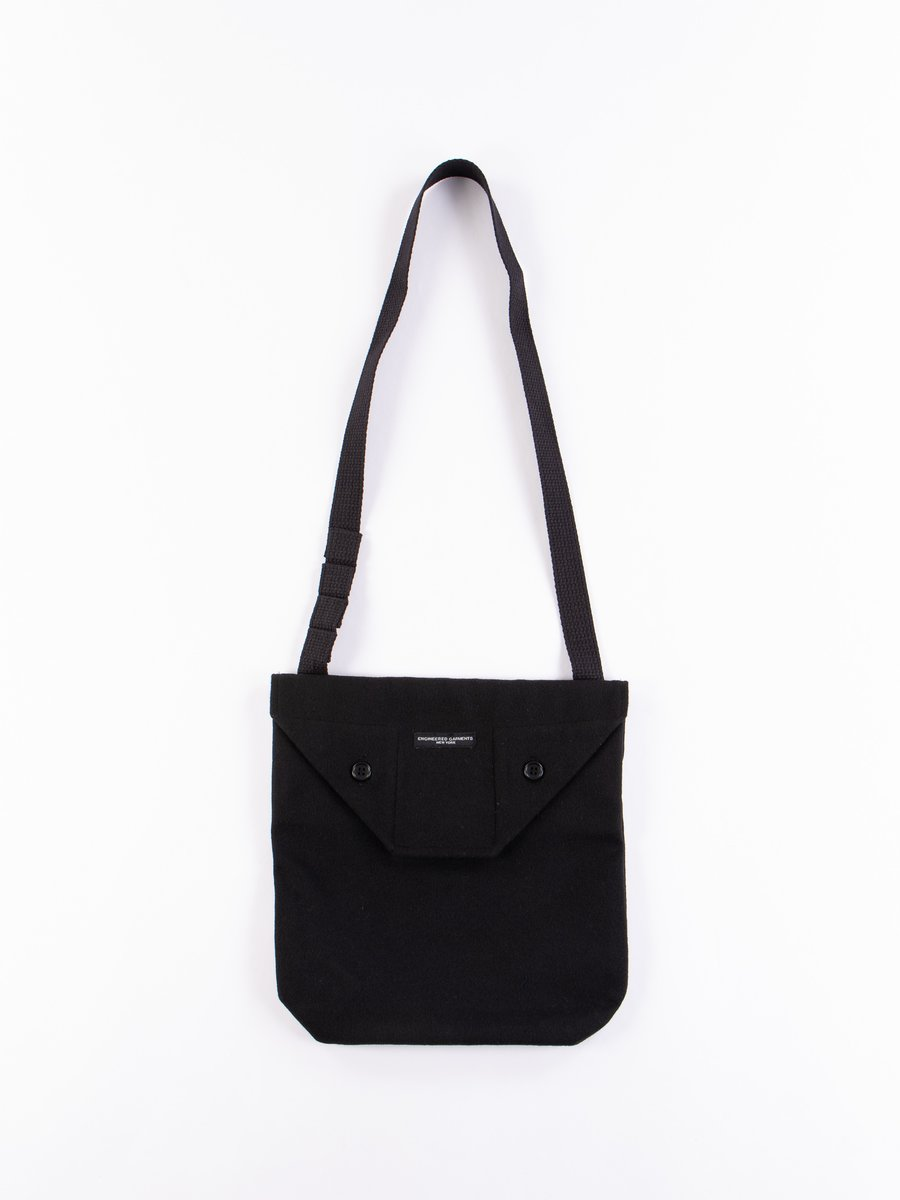 Black Polyester Fake Melton Shoulder Pouch