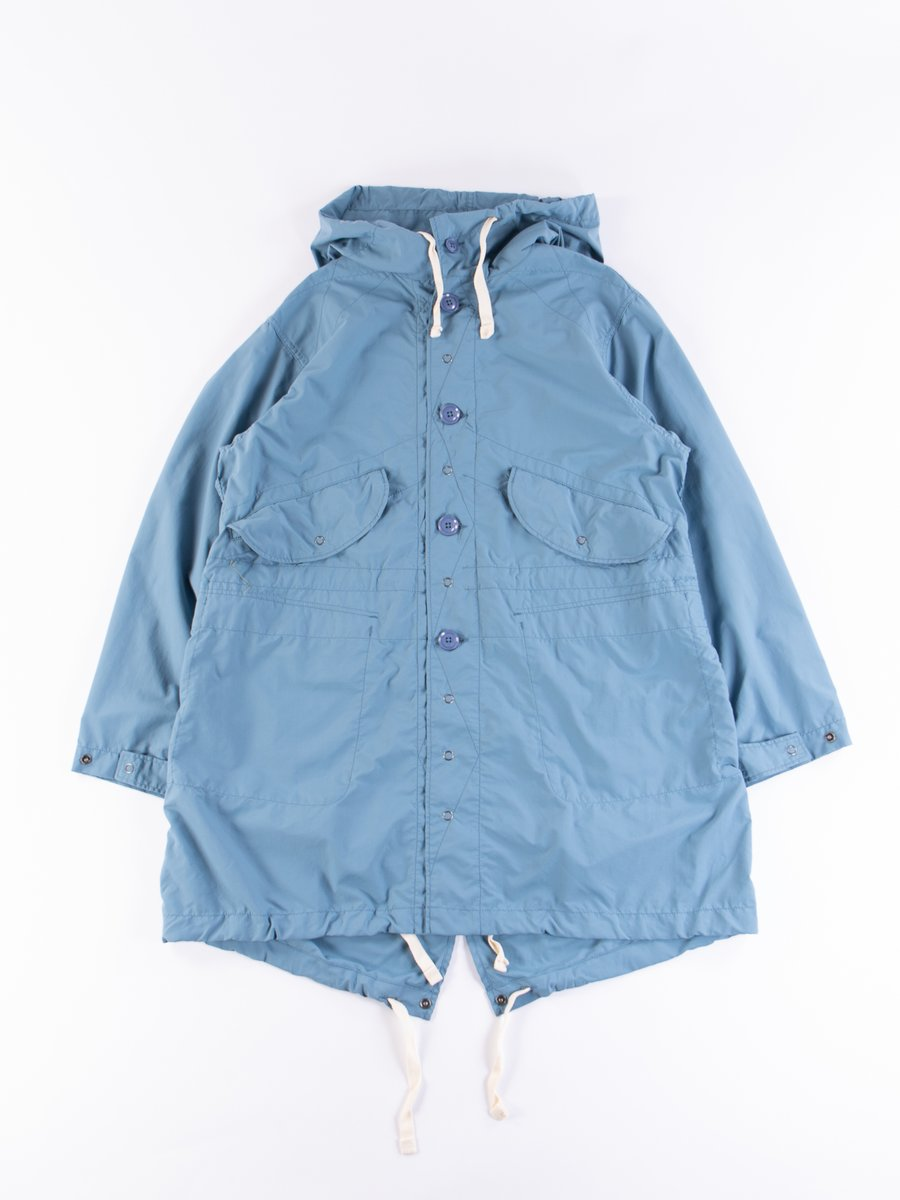 Light Blue Acrylic Coated Nylon Taffeta Highland Parka